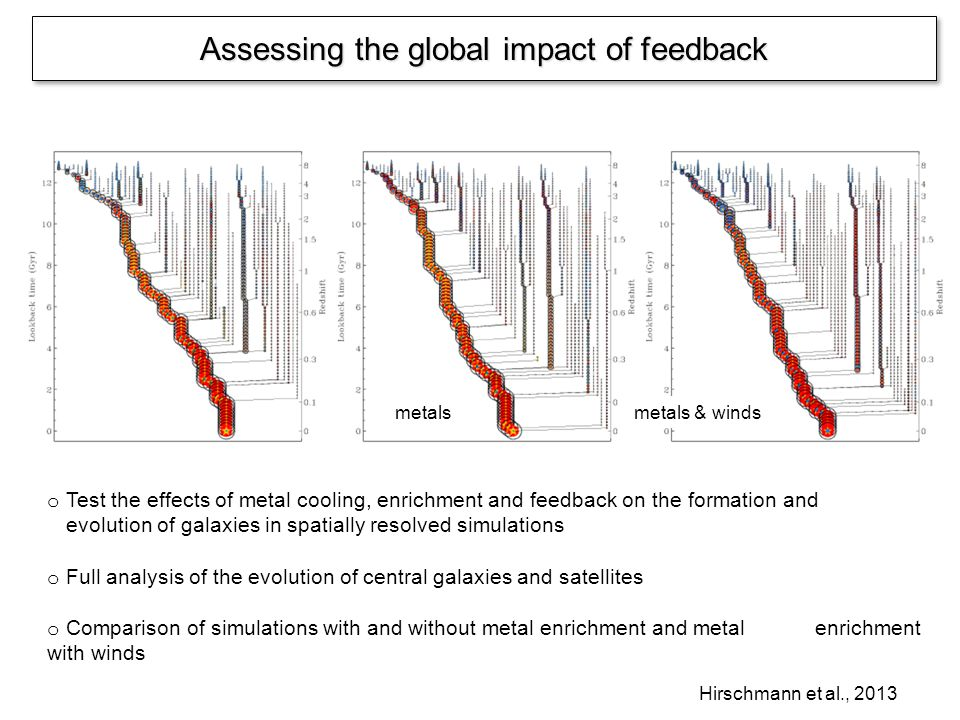 Assessing the global impact of feedback o Test the effects of metal cooling, enrichment and feedback on the formation and evolution of galaxies in spatially resolved simulations o Full analysis of the evolution of central galaxies and satellites o Comparison of simulations with and without metal enrichment and metal enrichment with winds Hirschmann et al., 2013 metals metals & winds