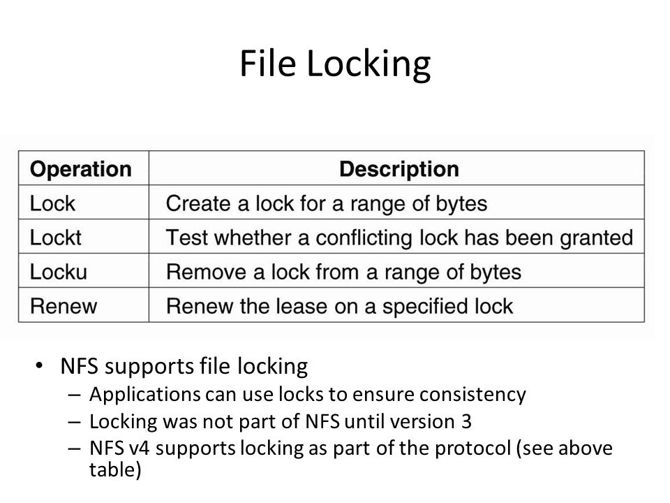 File Locking NFS supports file locking – Applications can use locks to ensure consistency – Locking was not part of NFS until version 3 – NFS v4 supports locking as part of the protocol (see above table)