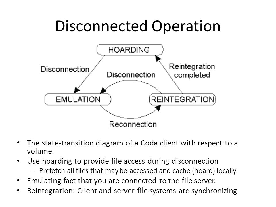 Disconnected Operation The state-transition diagram of a Coda client with respect to a volume.