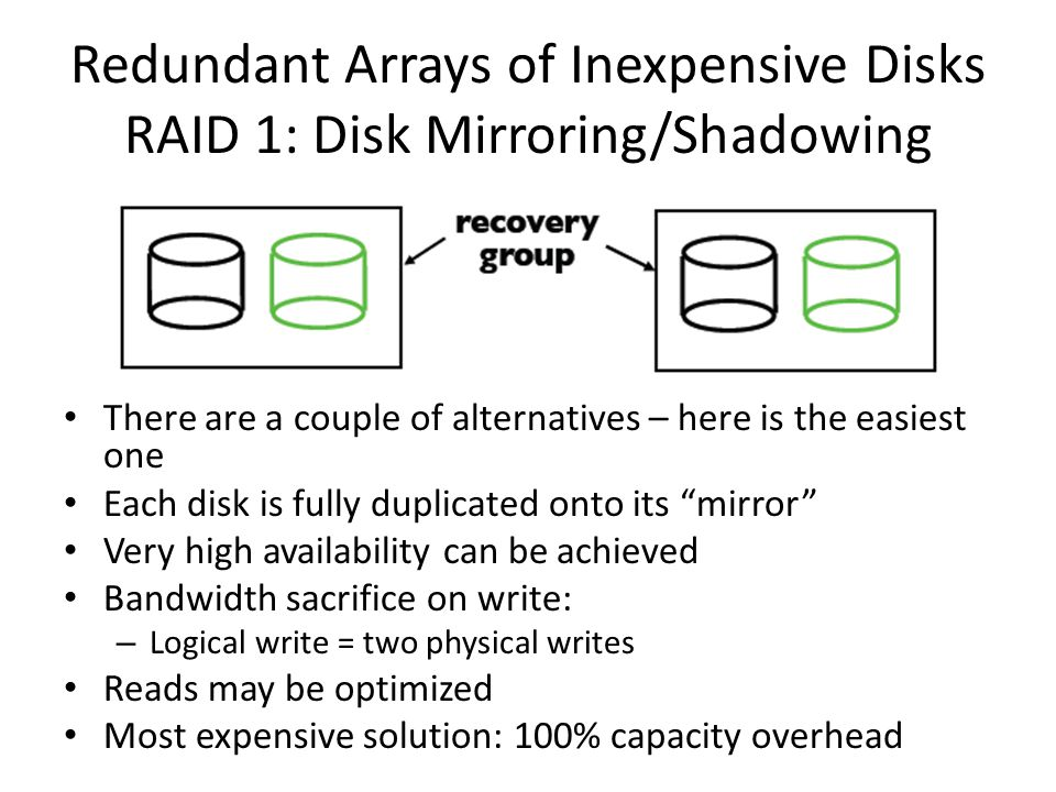 Redundant Arrays of Inexpensive Disks RAID 1: Disk Mirroring/Shadowing There are a couple of alternatives – here is the easiest one Each disk is fully duplicated onto its mirror Very high availability can be achieved Bandwidth sacrifice on write: – Logical write = two physical writes Reads may be optimized Most expensive solution: 100% capacity overhead