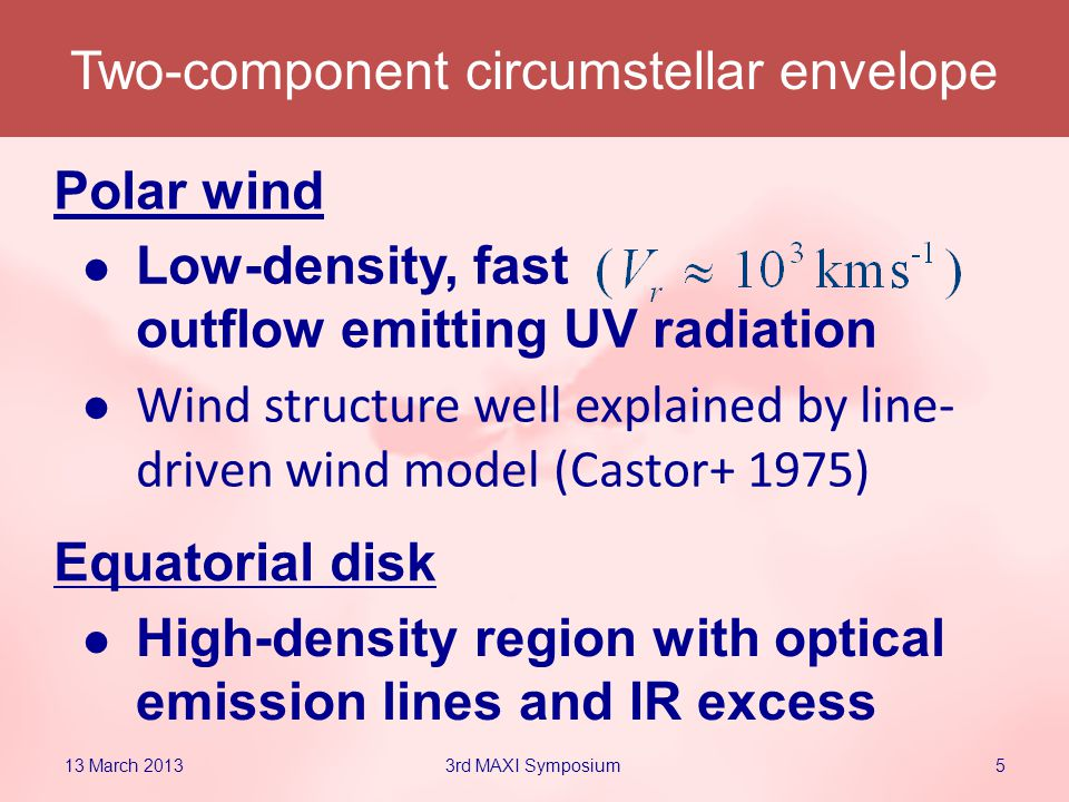 Low-density, fast outflow emitting UV radiation Wind structure well explained by line- driven wind model (Castor+ 1975) Two-component circumstellar envelope Polar wind Equatorial disk High-density region with optical emission lines and IR excess 13 March 201353rd MAXI Symposium
