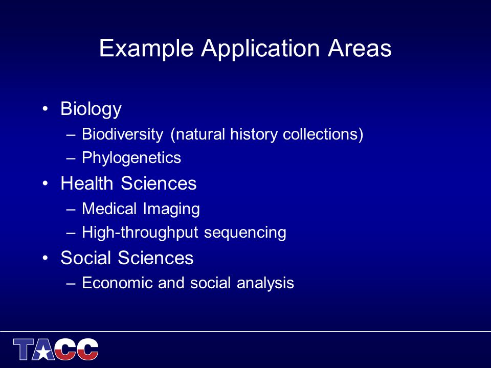 Example Application Areas Biology –Biodiversity (natural history collections) –Phylogenetics Health Sciences –Medical Imaging –High-throughput sequencing Social Sciences –Economic and social analysis