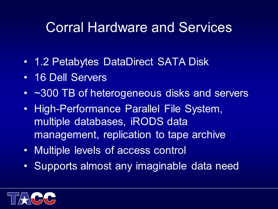 Corral Hardware and Services 1.2 Petabytes DataDirect SATA Disk 16 Dell Servers ~300 TB of heterogeneous disks and servers High-Performance Parallel File System, multiple databases, iRODS data management, replication to tape archive Multiple levels of access control Supports almost any imaginable data need