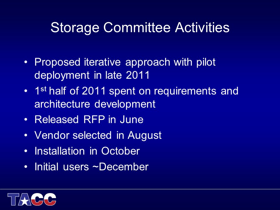 Storage Committee Activities Proposed iterative approach with pilot deployment in late 2011 1 st half of 2011 spent on requirements and architecture development Released RFP in June Vendor selected in August Installation in October Initial users ~December