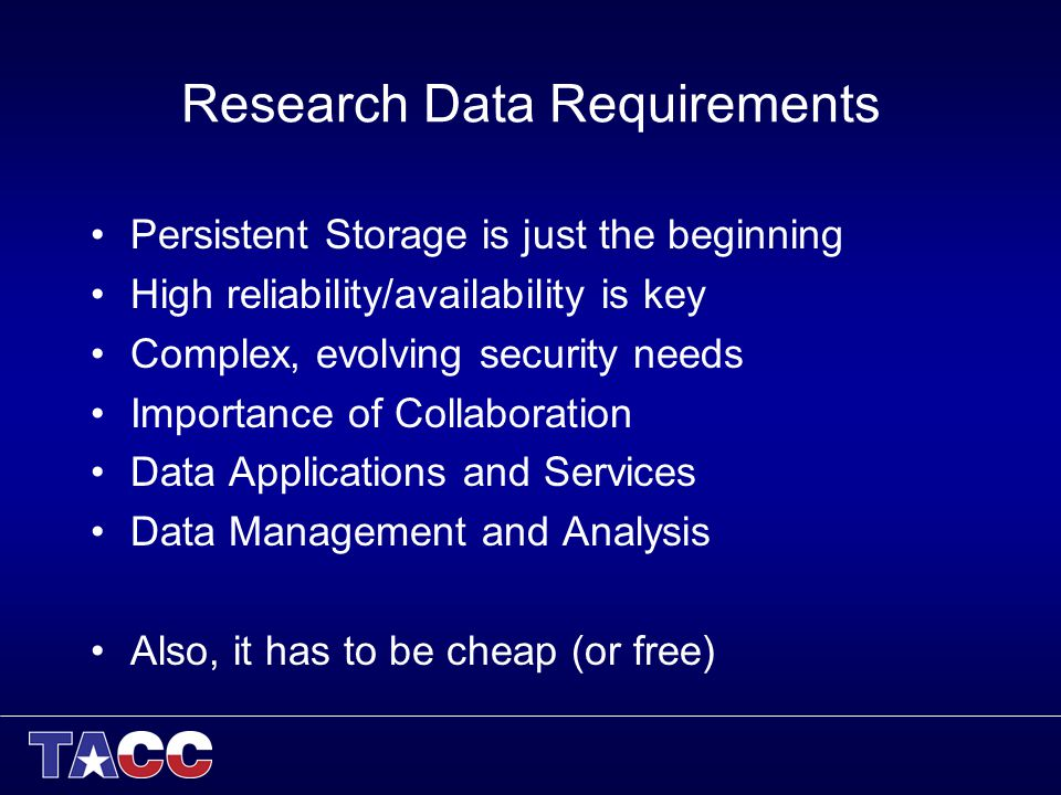 Research Data Requirements Persistent Storage is just the beginning High reliability/availability is key Complex, evolving security needs Importance of Collaboration Data Applications and Services Data Management and Analysis Also, it has to be cheap (or free)