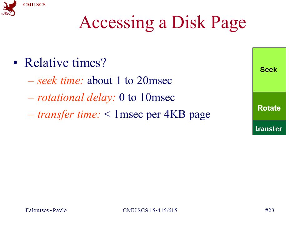 CMU SCS Faloutsos - PavloCMU SCS 15-415/615#23 Accessing a Disk Page Relative times.