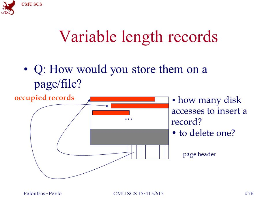 CMU SCS Faloutsos - PavloCMU SCS 15-415/615#76 Variable length records Q: How would you store them on a page/file ...