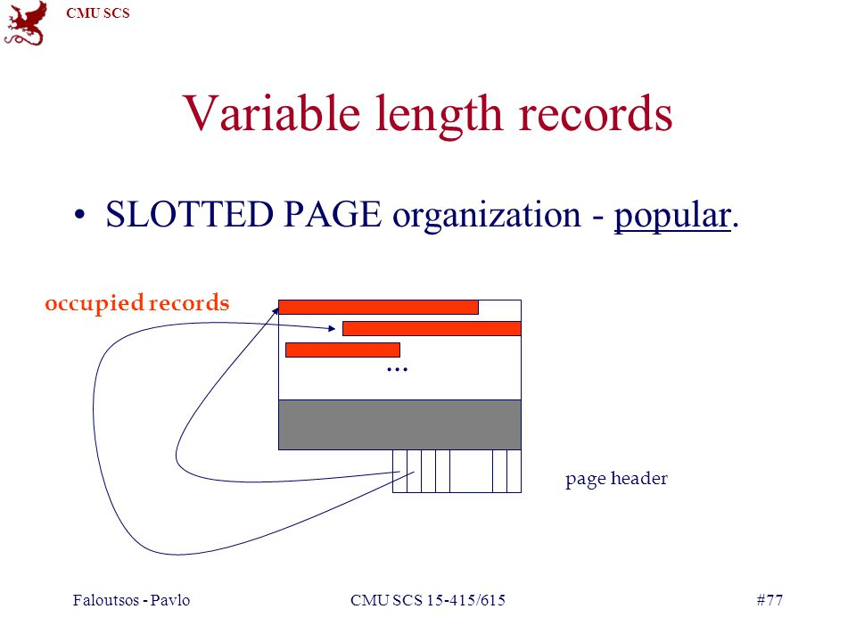 CMU SCS Faloutsos - PavloCMU SCS 15-415/615#77 Variable length records SLOTTED PAGE organization - popular....