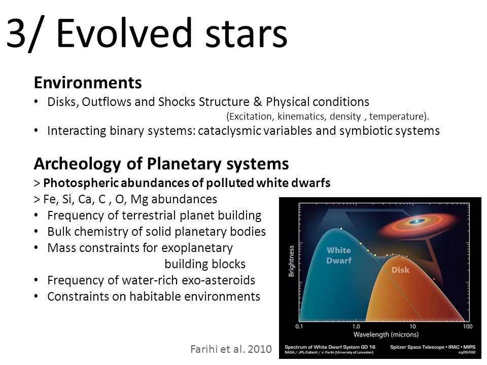 3/ Evolved stars Environments Disks, Outflows and Shocks Structure & Physical conditions (Excitation, kinematics, density, temperature).