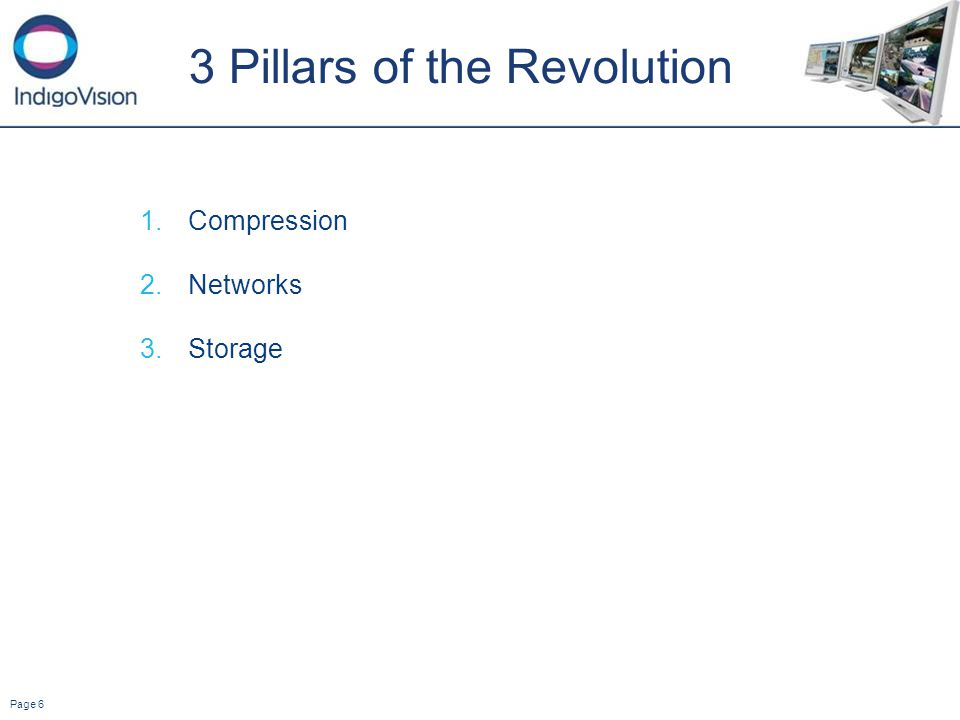 Page 6 3 Pillars of the Revolution 1.Compression 2.Networks 3.Storage