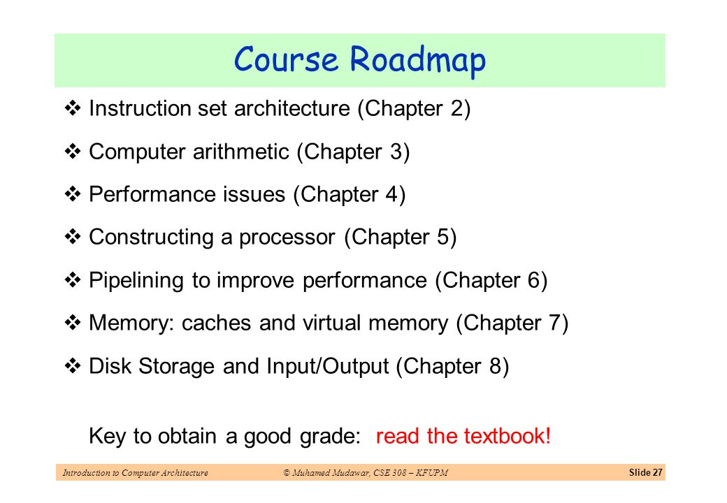 Introduction to Computer Architecture© Muhamed Mudawar, CSE 308 – KFUPMSlide 27 Course Roadmap Instruction set architecture (Chapter 2) Computer arithmetic (Chapter 3) Performance issues (Chapter 4) Constructing a processor (Chapter 5) Pipelining to improve performance (Chapter 6) Memory: caches and virtual memory (Chapter 7) Disk Storage and Input/Output (Chapter 8) Key to obtain a good grade: read the textbook!