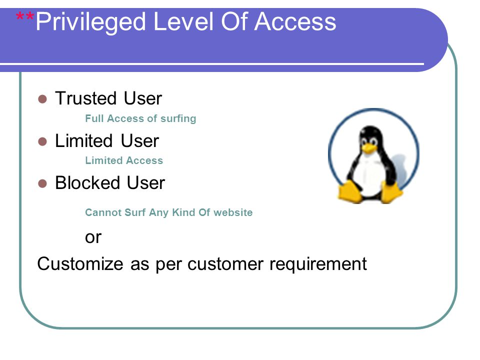 **Privileged Level Of Access Trusted User Full Access of surfing Limited User Limited Access Blocked User Cannot Surf Any Kind Of website or Customize as per customer requirement