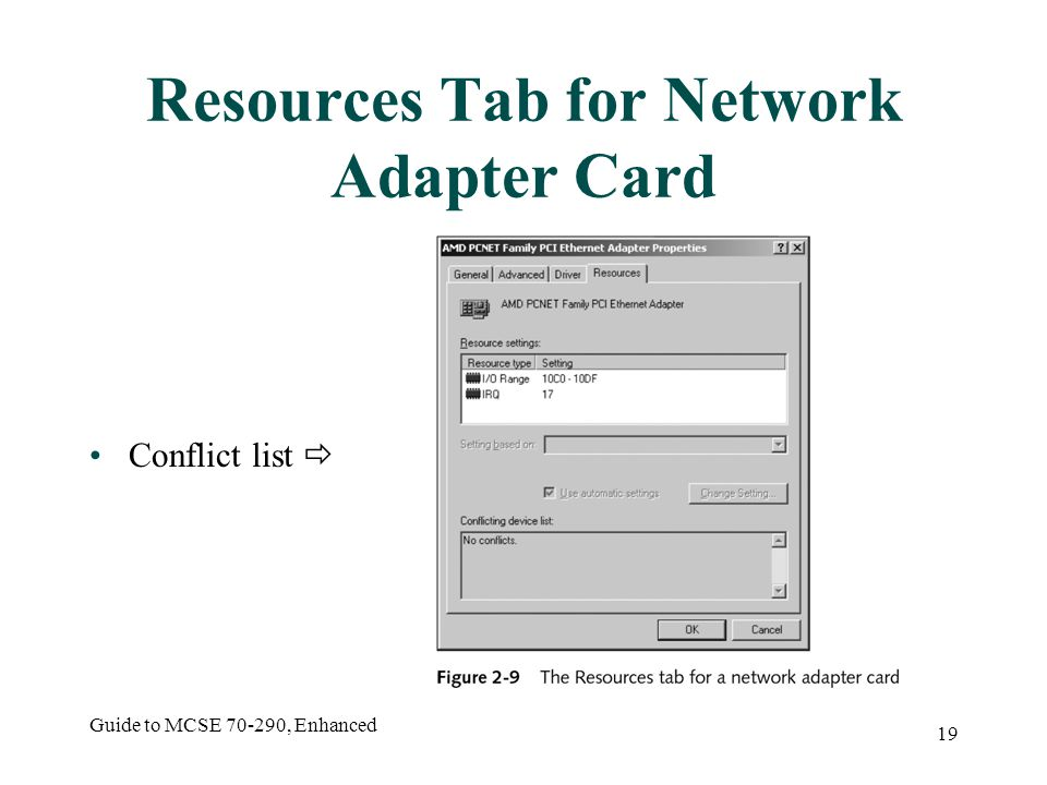 Guide to MCSE 70-290, Enhanced 19 Resources Tab for Network Adapter Card Conflict list