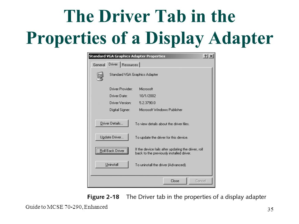 Guide to MCSE 70-290, Enhanced 35 The Driver Tab in the Properties of a Display Adapter
