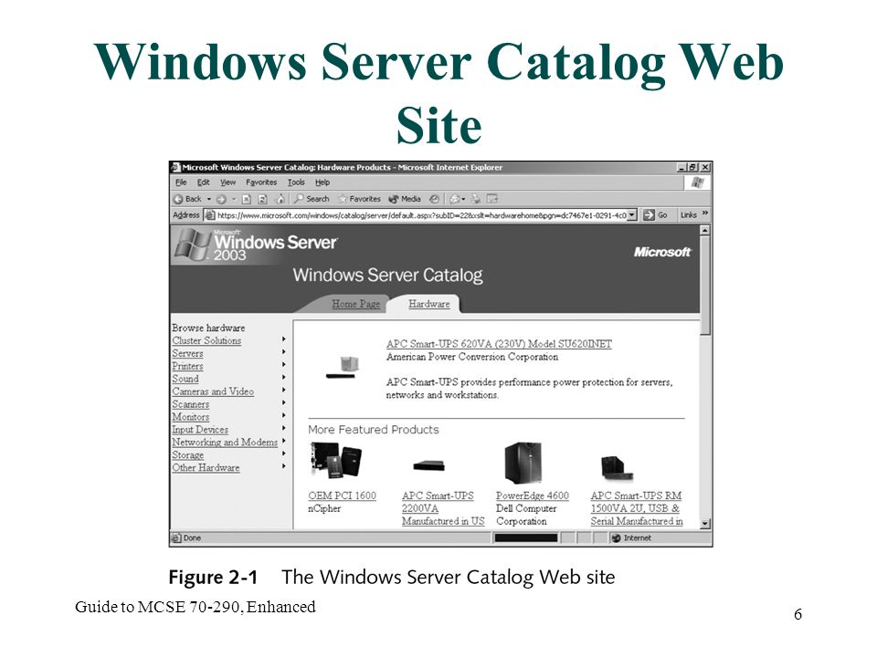 Guide to MCSE 70-290, Enhanced 6 Windows Server Catalog Web Site