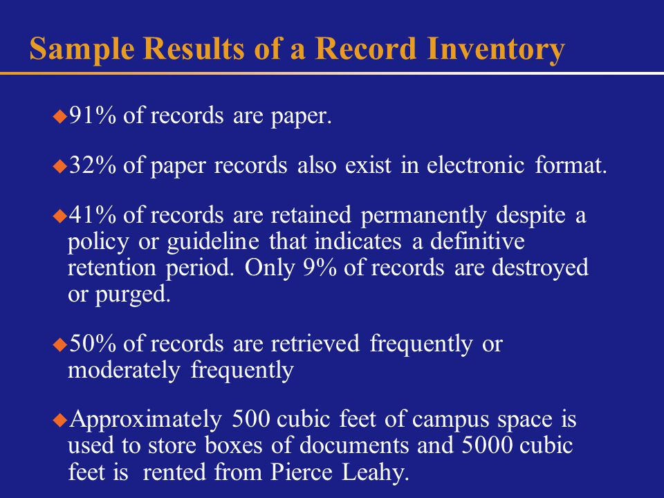 Sample Results of a Record Inventory 91% of records are paper.