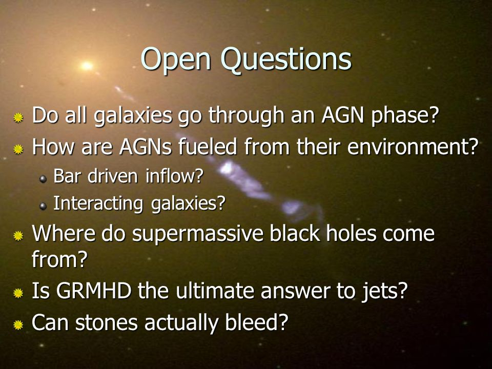 Open Questions Do all galaxies go through an AGN phase.