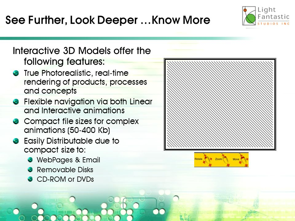 See Further, Look Deeper …Know More Interactive 3D Models offer the following features: True Photorealistic, real-time rendering of products, processes and concepts Flexible navigation via both Linear and Interactive animations Compact file sizes for complex animations (50-400 Kb) Easily Distributable due to compact size to: WebPages & Email Removable Disks CD-ROM or DVDs
