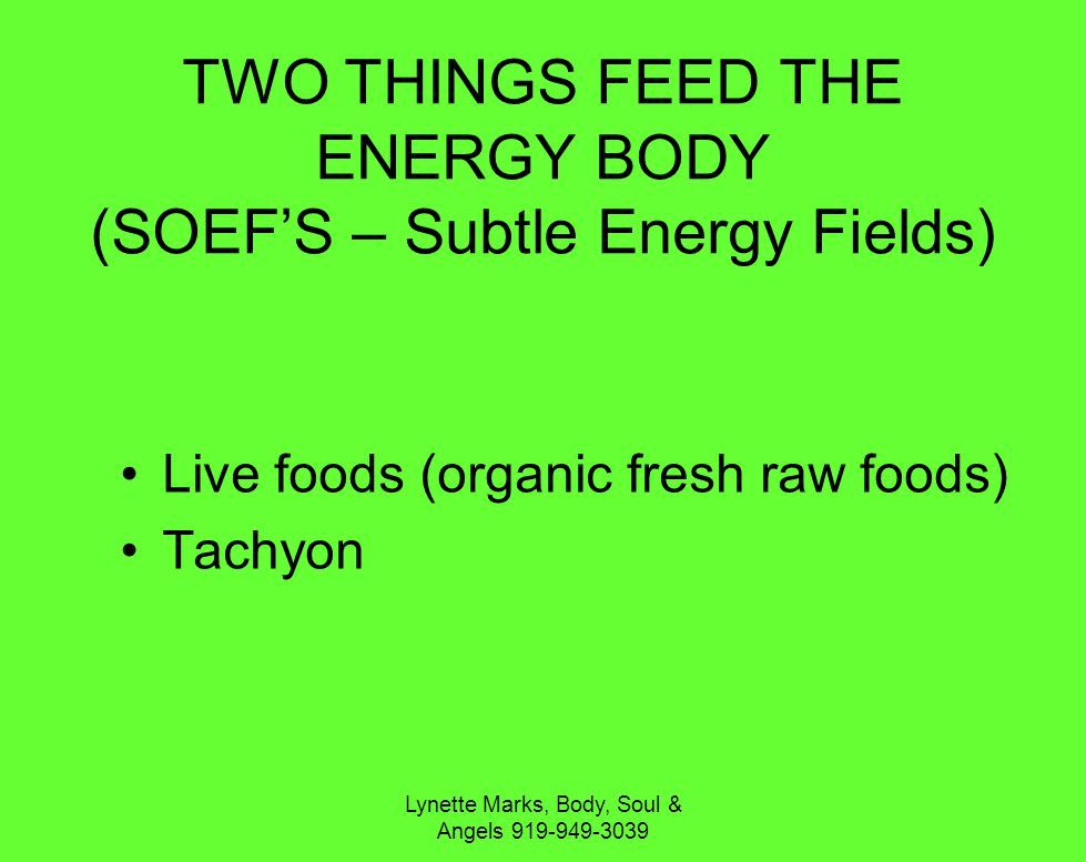 Lynette Marks, Body, Soul & Angels 919-949-3039 TWO THINGS FEED THE ENERGY BODY (SOEFS – Subtle Energy Fields) Live foods (organic fresh raw foods) Tachyon