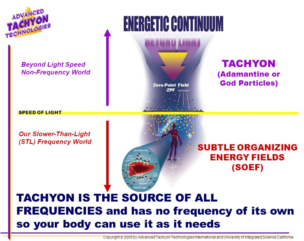 Lynette Marks, Body, Soul & Angels 919-949-3039 Zero-Point Field ZPF Beyond Light Speed Non-Frequency World Our Slower-Than-Light (STL) Frequency World TACHYON (Adamantine or God Particles) SUBTLE ORGANIZING ENERGY FIELDS (SOEF) TACHYON IS THE SOURCE OF ALL FREQUENCIES and has no frequency of its own so your body can use it as it needs Copyright 2005 by Advanced Tachyon Technologies International and University of Integrated Science California SPEED OF LIGHT