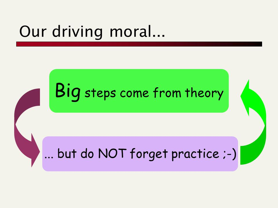 Our driving moral... Big steps come from theory... but do NOT forget practice ;-)
