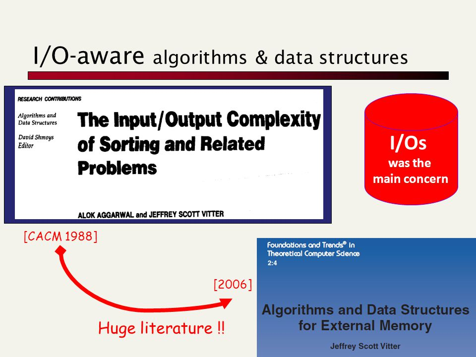 I/O-aware algorithms & data structures [CACM 1988] [2006] Huge literature !.