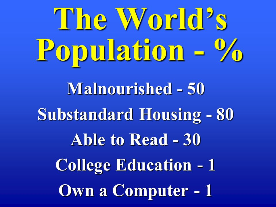 Malnourished - 50 Substandard Housing - 80 Able to Read - 30 College Education - 1 Own a Computer - 1 The Worlds Population - %