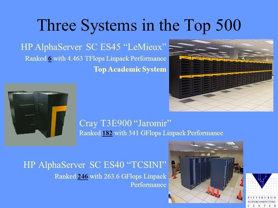 Three Systems in the Top 500 HP AlphaServer SC ES40 TCSINI Ranked 246 with 263.6 GFlops Linpack Performance Cray T3E900 Jaromir Ranked 182 with 341 GFlops Linpack Performance HP AlphaServer SC ES45 LeMieux Ranked 6 with 4.463 TFlops Linpack Performance Top Academic System