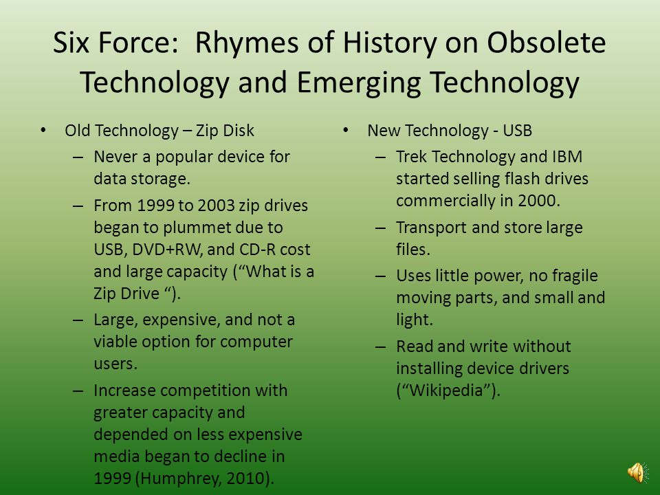 Six Forces: Rhymes of History on Obsolete Technologys Original Emergence – Zip Disk Rhymes of history was useful in explaining the reason the zip disk originally emerged as new technology.