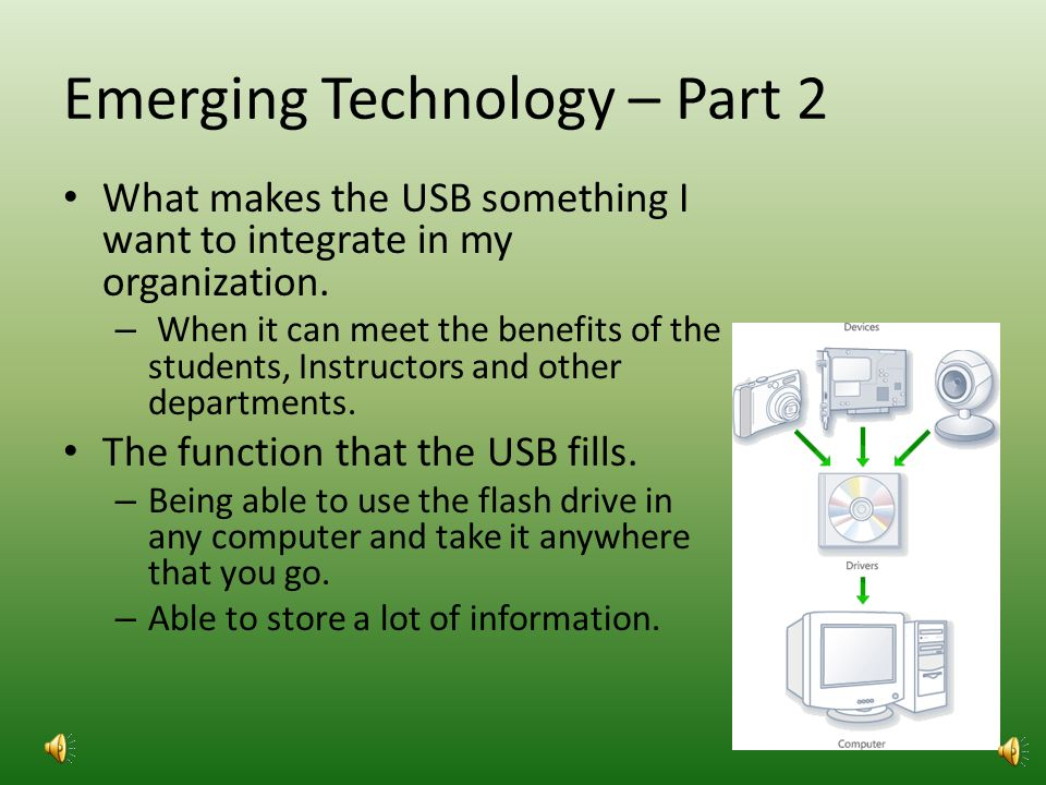 Emerging Technology – Part 1 USB Drive – Connect up to 127 peripheral devices such as keyboards, modems, and mice.