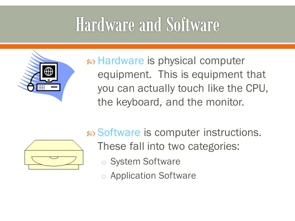 Hardware is physical computer equipment.