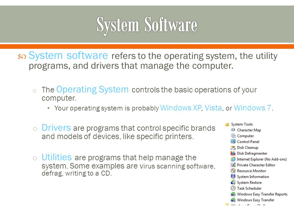System software refers to the operating system, the utility programs, and drivers that manage the computer.