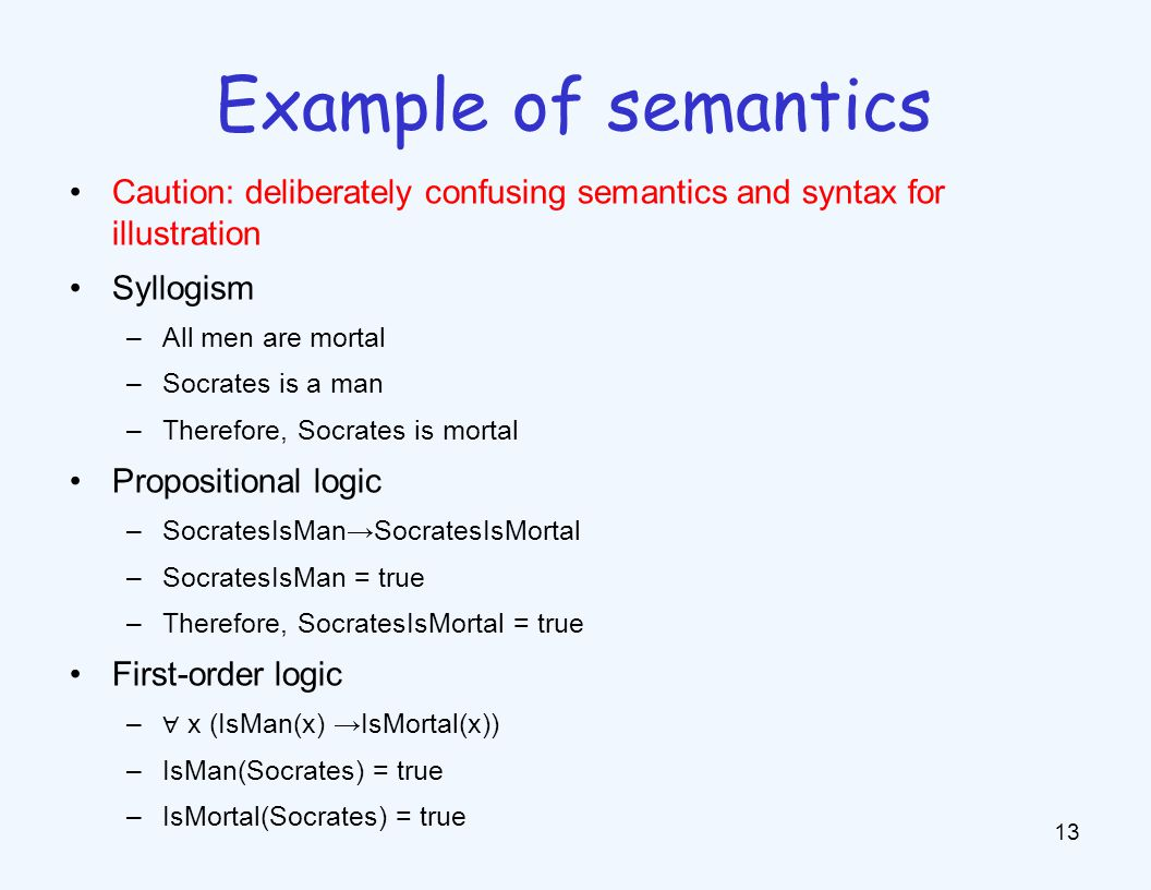 Caution: deliberately confusing semantics and syntax for illustration Syllogism –All men are mortal –Socrates is a man –Therefore, Socrates is mortal Propositional logic –SocratesIsManSocratesIsMortal –SocratesIsMan = true –Therefore, SocratesIsMortal = true First-order logic – x (IsMan(x) IsMortal(x)) –IsMan(Socrates) = true –IsMortal(Socrates) = true 13 Example of semantics