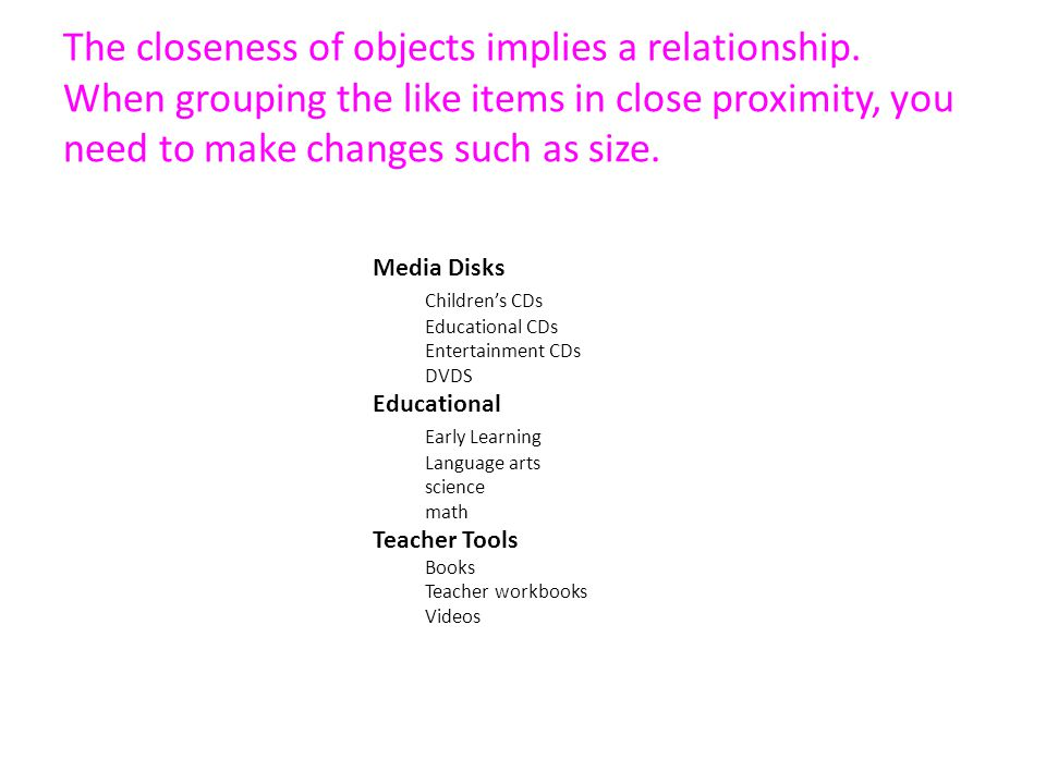 The closeness of objects implies a relationship.