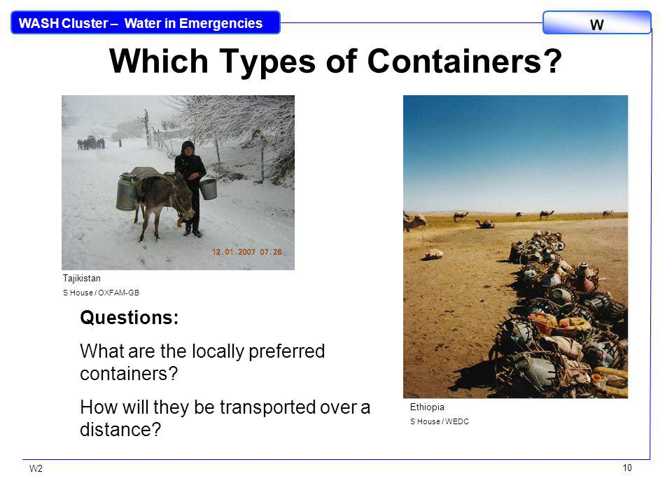 WASH Cluster – Water in Emergencies W W2 10 Which Types of Containers.