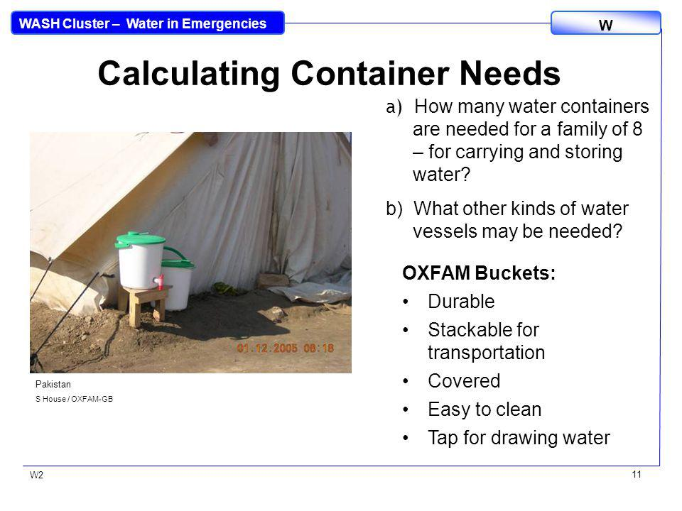 WASH Cluster – Water in Emergencies W W2 11 Calculating Container Needs a) How many water containers are needed for a family of 8 – for carrying and storing water.