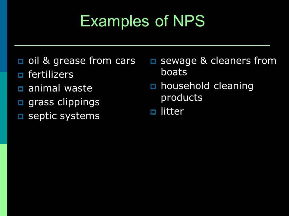 Examples of NPS oil & grease from cars fertilizers animal waste grass clippings septic systems sewage & cleaners from boats household cleaning products litter