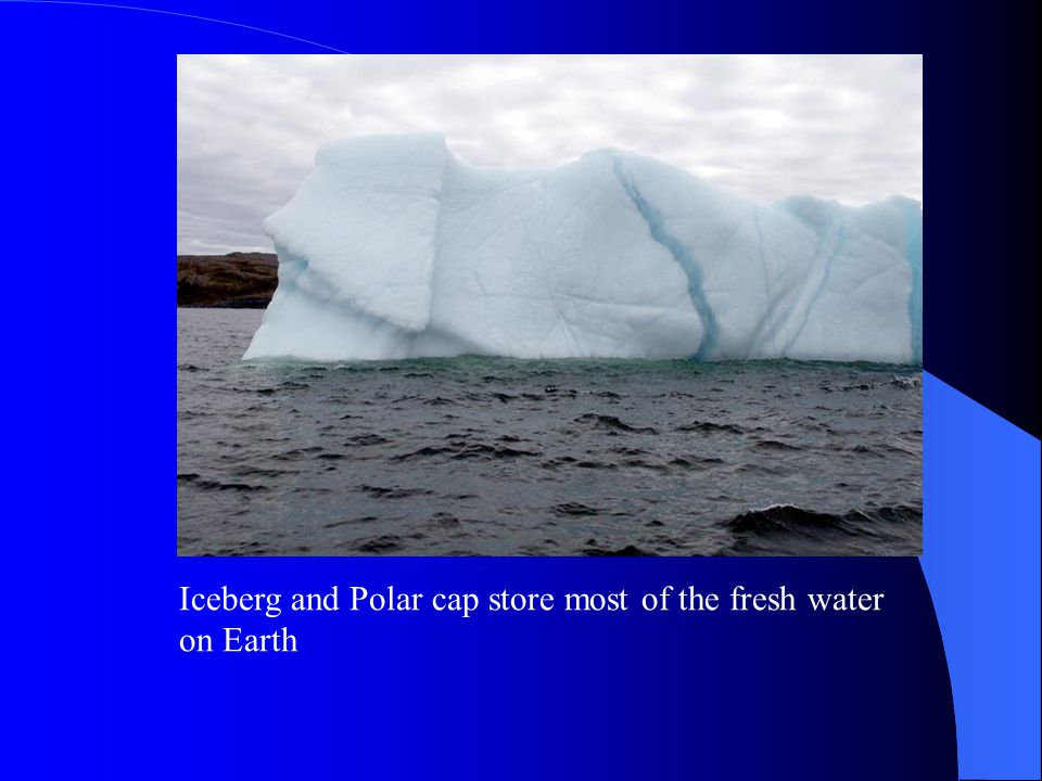 Iceberg and Polar cap store most of the fresh water on Earth