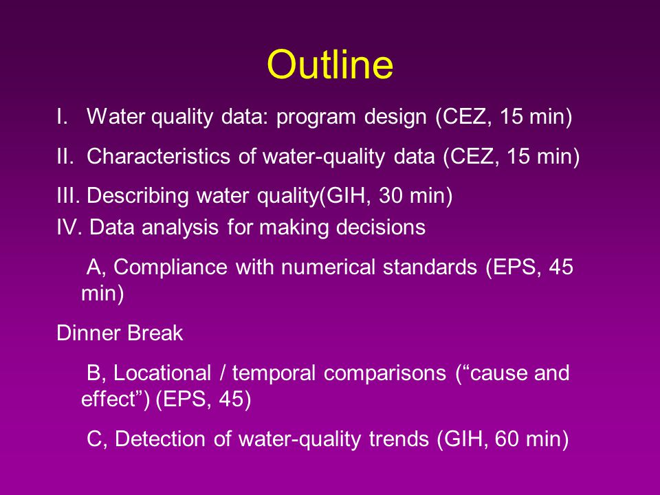 Application of Statistical Techniques to Interpretation of Water Monitoring Data Eric Smith, Golde Holtzman, and Carl Zipper