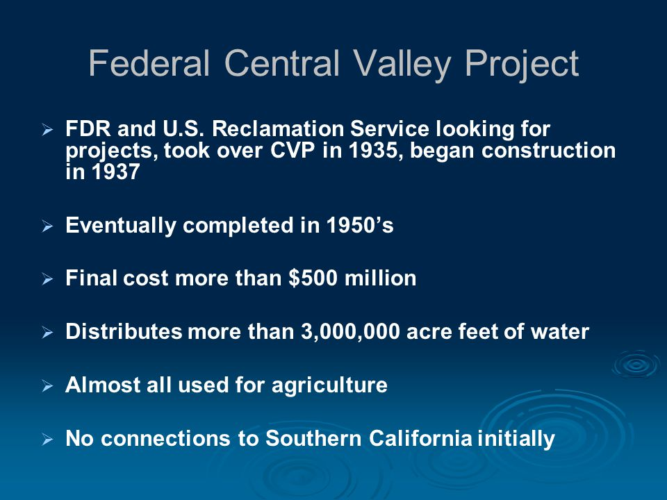 Federal Central Valley Project FDR and U.S.