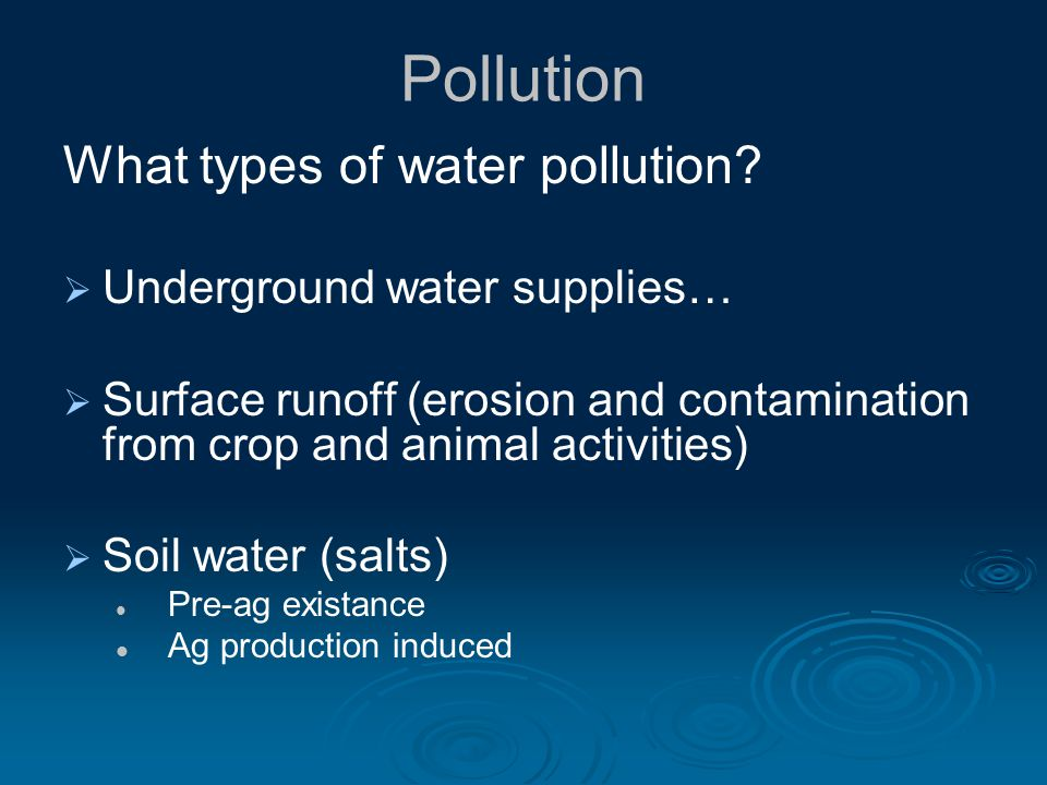 Pollution What types of water pollution.