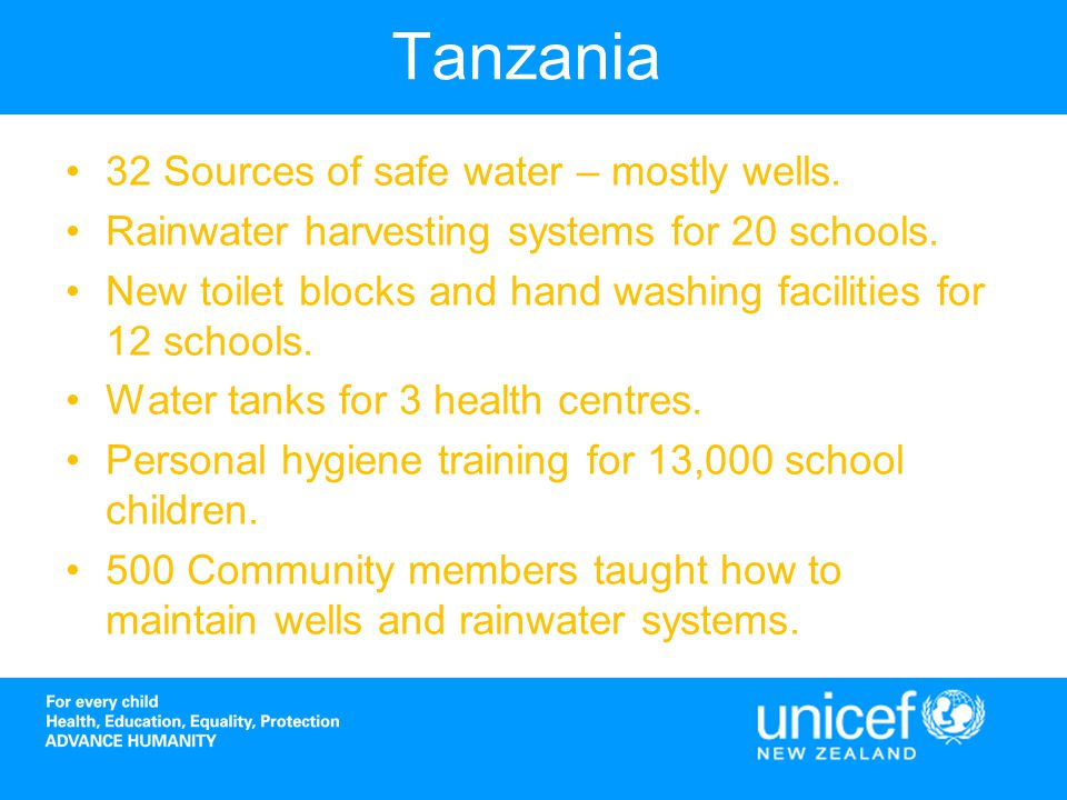 Tanzania 32 Sources of safe water – mostly wells. Rainwater harvesting systems for 20 schools.
