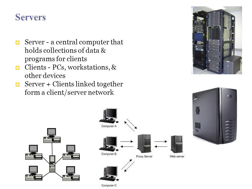 Servers Server - a central computer that holds collections of data & programs for clients Clients - PCs, workstations, & other devices Server + Clients linked together form a client/server network