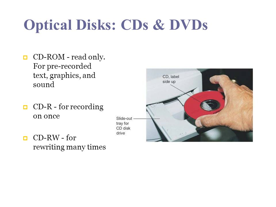 Optical Disks: CDs & DVDs CD-ROM - read only.