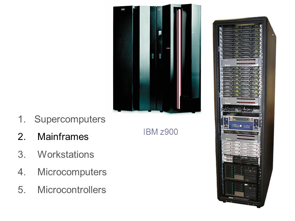 1.Supercomputers 2.Mainframes 3.Workstations 4.Microcomputers 5.Microcontrollers IBM z900