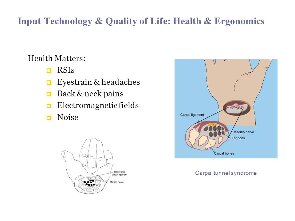 Input Technology & Quality of Life: Health & Ergonomics Health Matters: RSIs Eyestrain & headaches Back & neck pains Electromagnetic fields Noise Carpal tunnel syndrome