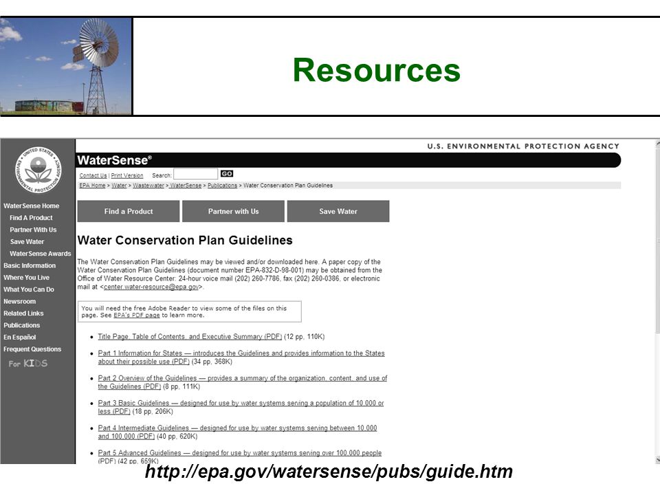 RCAC Resources http://epa.gov/watersense/pubs/guide.htm