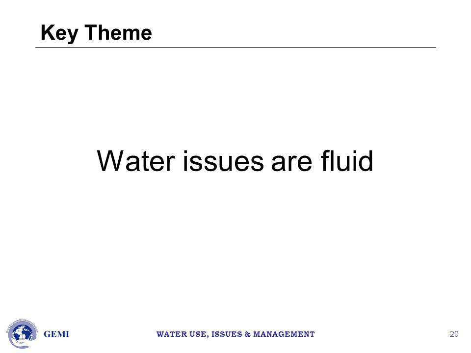 WATER USE, ISSUES & MANAGEMENT 20 Key Theme Water issues are fluid