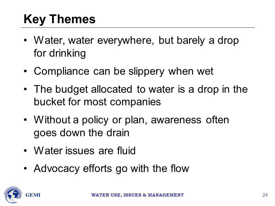 WATER USE, ISSUES & MANAGEMENT 24 Key Themes Water, water everywhere, but barely a drop for drinking Compliance can be slippery when wet The budget allocated to water is a drop in the bucket for most companies Without a policy or plan, awareness often goes down the drain Water issues are fluid Advocacy efforts go with the flow