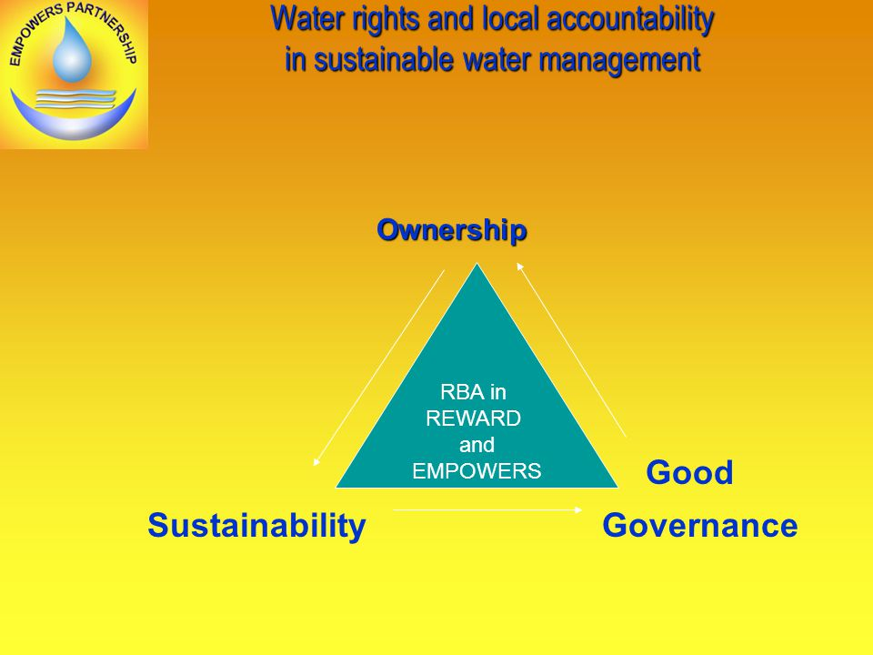 Water rights and local accountability in sustainable water management Ownership Ownership Good Sustainability Governance RBA in REWARD and EMPOWERS